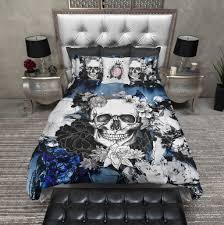 Skull Bedroom Abstract Blue Flower Skull Duvet Bedding Sets Ink And Rags