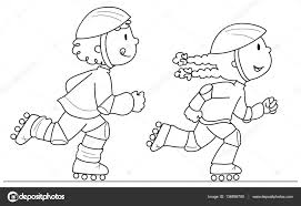 Due Giovani Pattinatori Di Vettore Vettoriali Stock