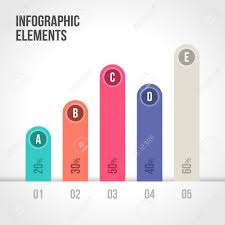 Percentage Bar Chart Vector Elements Template For Infographic