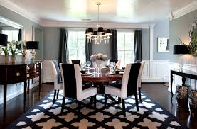 black and white rugs dining