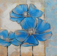 top skill handmade modern abstract blue flowers palette knife oil painting on canvas decorative hand painted