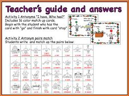 Synonyms Of Table Chart A Fun Set Of Activities For Learning About Antonyms