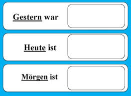 Yesterday Today Tomorrow Chart German By Lakes Of Learning Tpt