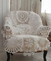 cover an old chair with vine crocheted doilies sewn together 18 diy shabby chic home decorating ideas on a budget