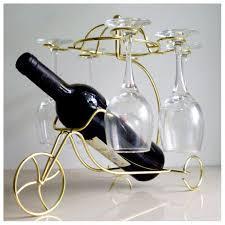 new delicate red wine bottle glasses holder hanging upside down cup goblets display rack golden