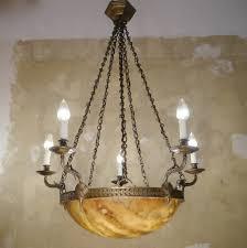 Sac A Perle Große Antike Bronze Lampe Kronleuchter