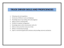 truck drivers skills