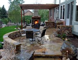 Outdoor Patio Kitchen Backyard Patios Flagstone Patio With Stone Fireplace And Outdoor
