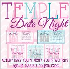 Activity Day Ideas Temple Date Night Sign Up Sheet