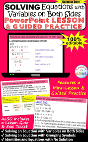 solving equations with variables on both sides powerpoint mini lesson practice