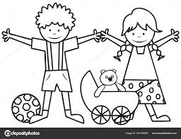 Bambini Felici Carrozzina Con Orsacchiotto Libro Colorare Bambini