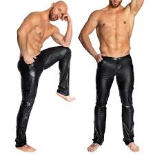 men y black wetlook pvc stage faux leather pencil pants skinny latex leggings pole club wear c19031601 y ladys underwear y