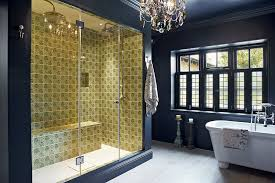 Navy Blue And Yellow Bathroom