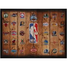 logo multi nba wall art team decorations interior basketball sport black rectangle home decors team