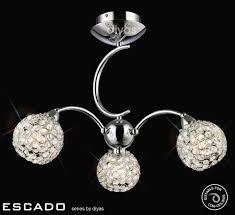 Exclusive Light Fittings Escado Semi Ceiling 3 Light Chrome Crystal