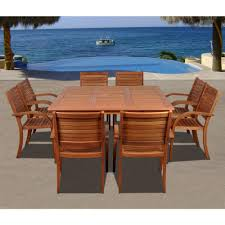 ia arizona square 9 piece eucalyptus patio dining set