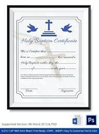 Sample Baptism Certificate Template Interesting Baptism Certificates Templates Format Of Holy Baptism Certificate
