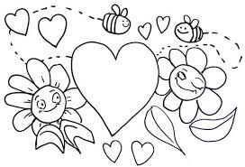 Small Picture Bumblebee Illustration for Valentines Day Coloring Page Download