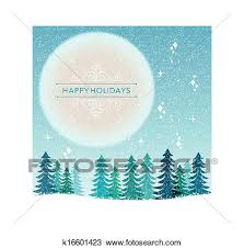 Winter Holiday Background Snowing Night Clipart
