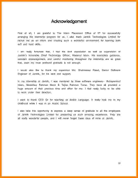 Internship Report Acknowledgement Sample For Internship Report