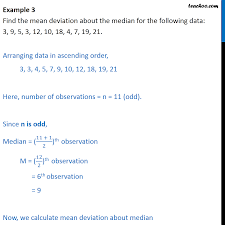 Example 3 Find Mean Deviation About Median 3 9 5 3 12