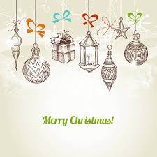 hanging christmas ornaments vector. Brilliant Vector Retro Christmas And New Year Card Hanging Traditional Ornaments Vector  Stock Vector  15941125 Intended Hanging Ornaments O
