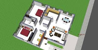 3d interior view of small house plan shp 1008