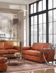 brown leather couch living room rustic