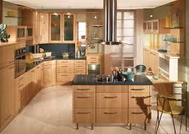 oak cabinet design with black granite countertop for small kitchen