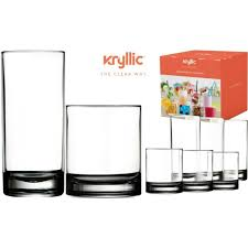 16 pieces glassware set 8 cooler and 8 rocks glasses tumblers drinking glass for