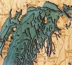 Great Lakes Mi Wi Ny Pa Canada Large Wood Map