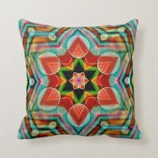 Colorful Kaleidosope Mandala Abstract Flower Star Throw Pillow ...