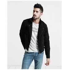 black denim jacket men 2018 spring new slim fit zippers short biker jackets fashion jeans coats brand clothing