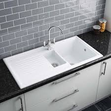 reginox white ceramic 1 5 bowl kitchen sink rl301cw um image