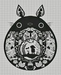 Inside Totoro 切り紙 切り絵 図案トトロ折り紙 切り絵