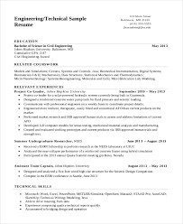 Engineering Resume Template 16 Internship Techtrontechnologies Com