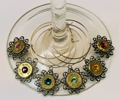 ammo wine glass charms with filigree and crystal set of 6