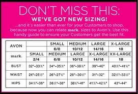 Size Chart For Avon And Mark Fashion Avon Fashion And