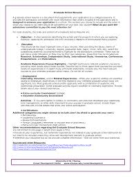Example Resume For Graduate School Application Objective Graduate School Admissions Resume Sample Httpwwwresumecareer 2