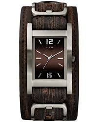 guess leather watches for men best watchess 2017 guess watch men s brown leather cuff strap 40x32mm u0281g1 in