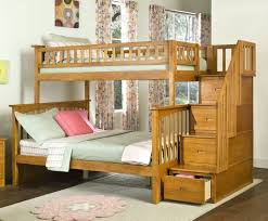 Bedroom: Wooden Bunk Beds With Stairs And Storage Also Queen Size Bed - Bunk  Bed