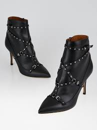 valentino black leather pointed toe booties size 8 5 39