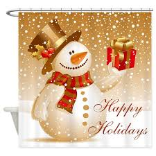 Holidays Snowman Happy Holidays Golden Snowman Shower Curtain By Nature_tees