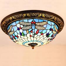 beautiful stained glass shade dragonfly ceiling light colored semi flush lighting
