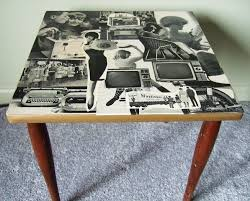 decoupage ideas for furniture. decoupaged table made with 1966 life magazine pics decoupage furnituredecoupage ideasrepurposed ideas for furniture