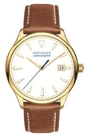 brown leather watches movado heritage calendoplan leather watch
