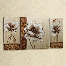 three canvas wall art rectangle square cream brown flower picture vintage  subtle elegance floral canvas art