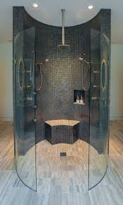 curvy walls and glass enclosure walk in shower design