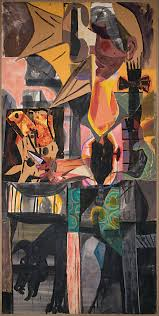 rico lebrun mexican meat stall 1954 collage and mixed media painting 96 x 47 inches