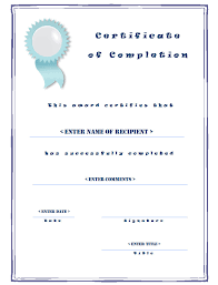 templates for certificates of completion casual certificate of completion templates with blue border